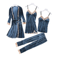 Fashion Gray Gold Velvet 4 Peices Warm Pajamas Set Women Sexy Lace Sling Pajamas Winter Sleepwear Long Sleeves Nightwear