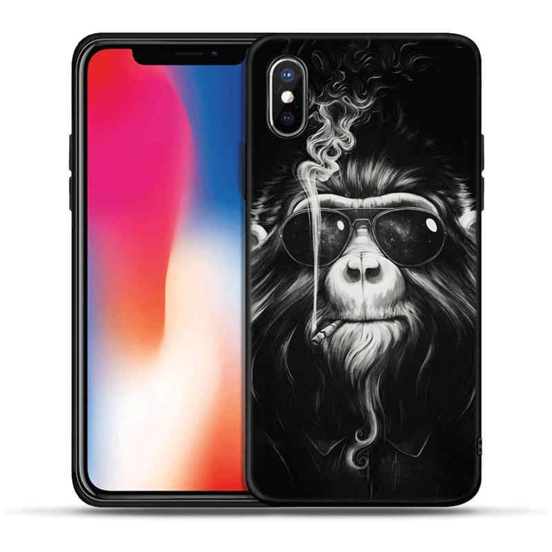 Coole Lion Tiger Affe Tier Schwarz TPU Fall für iPhone X XR XS Max 8 7 6 6 S Plus 5 5 S SE Silikon Zurück Abdeckung Coque Fundas Etui