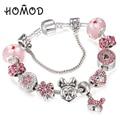 HOMOD Handmade DIY Murano Glass Beads Mickey Brand Charm Bracelet Women Fit Snake Chain Bracelet Female Jewelry