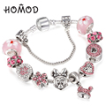 Hot Sale Handmade Pink Mickey Minnie Beads Charm Bracelet Fits Silver Snake Chain Brand Bracelet For Women Female Jewelry
