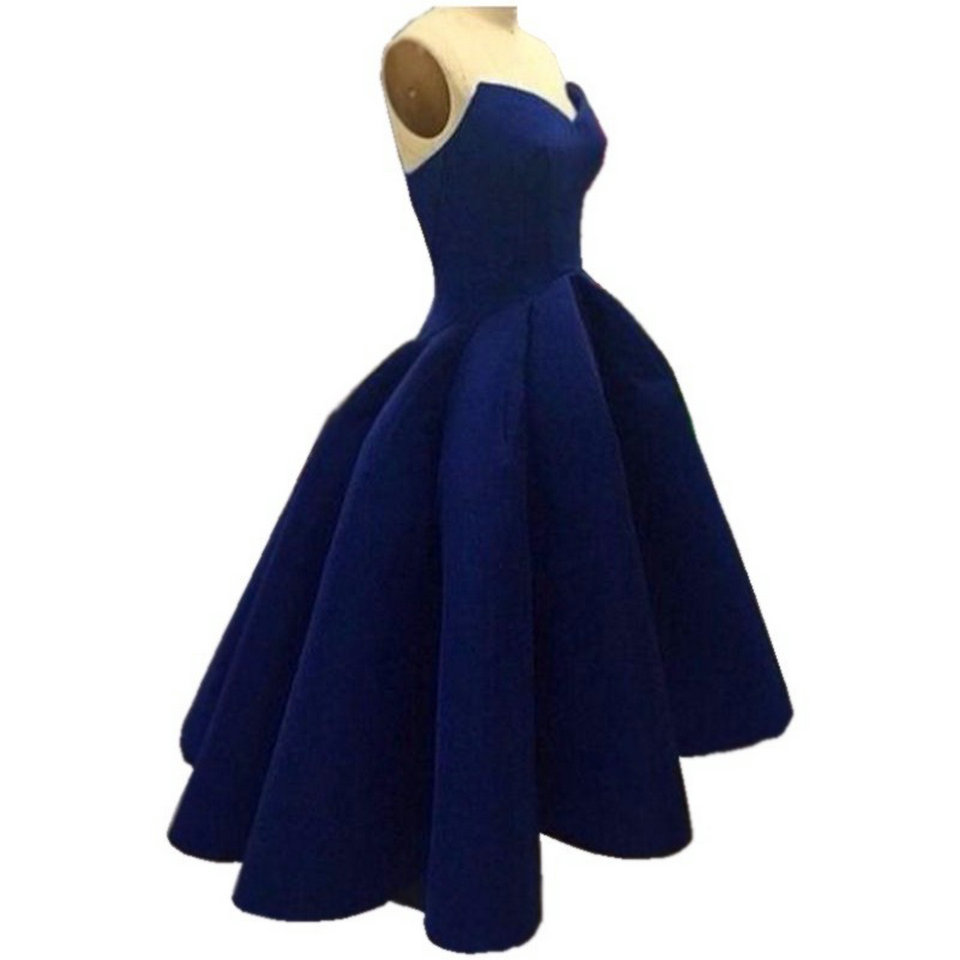 Sexy Dark Navy   Prom     Dresses   Short 2018 New Red   Prom     dress   Plus Size Sweetheart Satin Zipper Beach Party gown Evening Custom Made