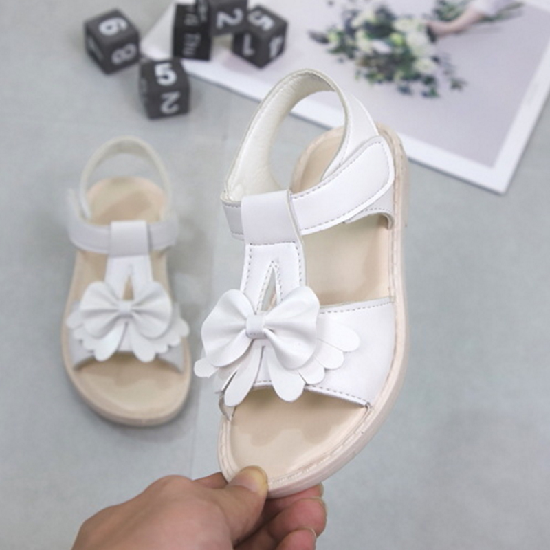 New Summer Children Breathable Sandals Cute Girls Fashion PU Leather Beach Sandals Kids Princess Big Bow Sandals for Girl
