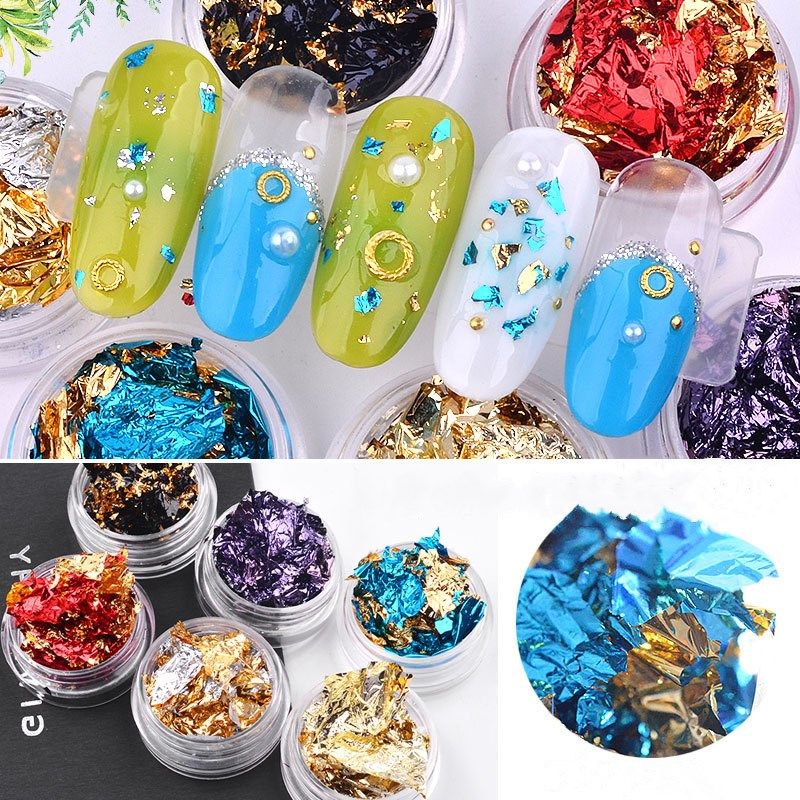 Nail Art Colorful 3D Glitter Aluminum Foils Flake Sticker UV Gel Polish Full Cover Laser DIY Nail Decoration Tools