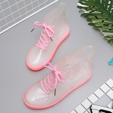 2018 New Arrival 7 Colors Transparent Rain Boots Women Waterproof Martin Boots Water Jelly Shoes