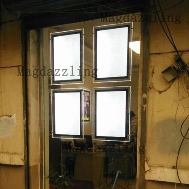 4 unids doble cara A2 acrílico Marcos LED iluminado paneles ventana ...