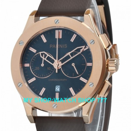 PARNIS 44mm Stainless steel watchcase chronograph Japanese quartz movement pvd case High qualitymen s watch Quartz