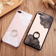 New Brand HQ Ring Grip Lace Flower Pattern Case For iPhone 6 6sPlus 7 7 Plus 5.5inch hard Back Cover Cases half rose capa fundas
