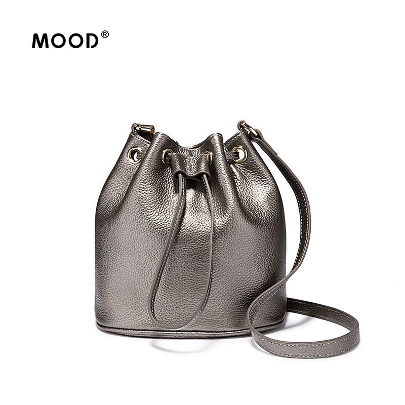 MOOD Genuine Leather Bucket bag The brand designs a variety of colors of single shoulder bag Quality guarantee free shipping the quality of accreditation standards for distance learning