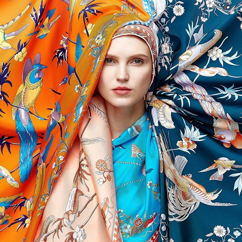 BAOSHIDI 2018 Autumn New 100% Satin Silk 88*88 Large Square Scarfs, Luxury Brand Original Design Scarf,  Elegant Lady Gift Shawl
