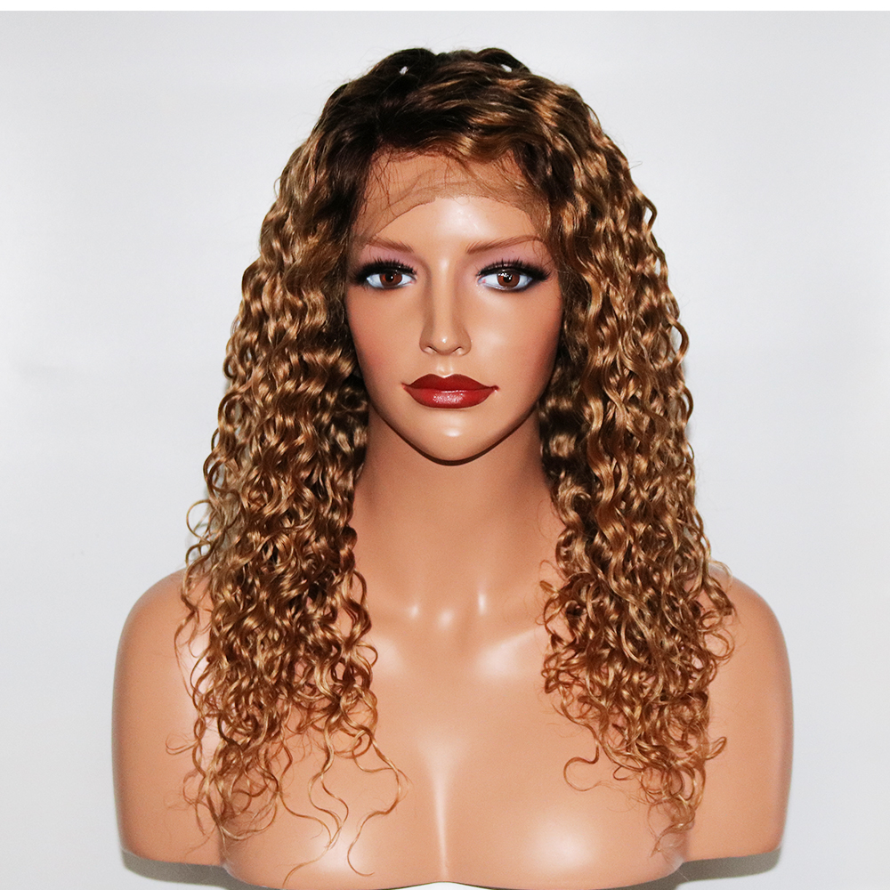 Eversilky 4 27 Curly Wig 360 Lace Frontal Human Hair Wigs For Women Brazilian Ombre Blonde Lace Front Wig Remy Hair Pre Plucked