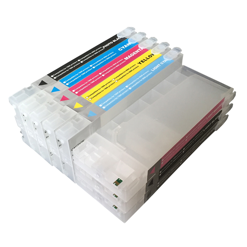 Refillable ink cartridge for Epson 7800 9800 7880 9880 large format printer with chips and resetters (8 color and 350ml) refillable ink cartridge for epson 9700 7700 7710 9710 large format printer with chips and resetters 5 color and 700ml