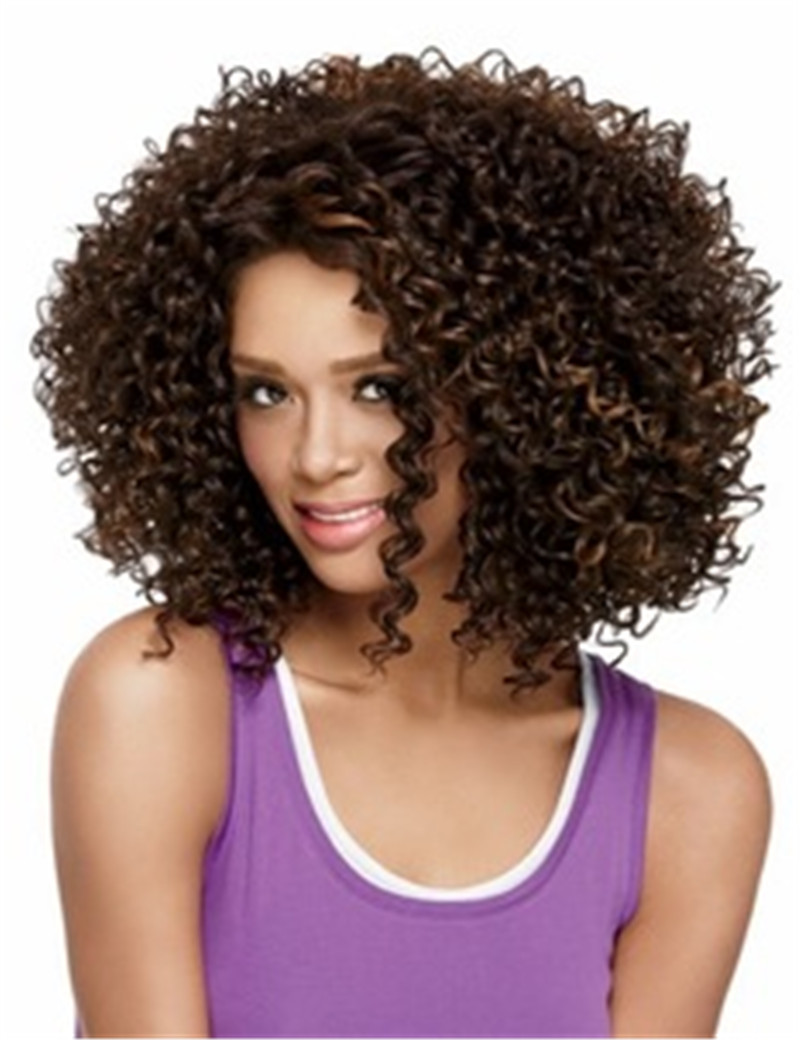 Good Synhetic Afro Kinky Curly Wig Short Wigs For African American Black Women Curl Kanekalon Fiber Natural Hair