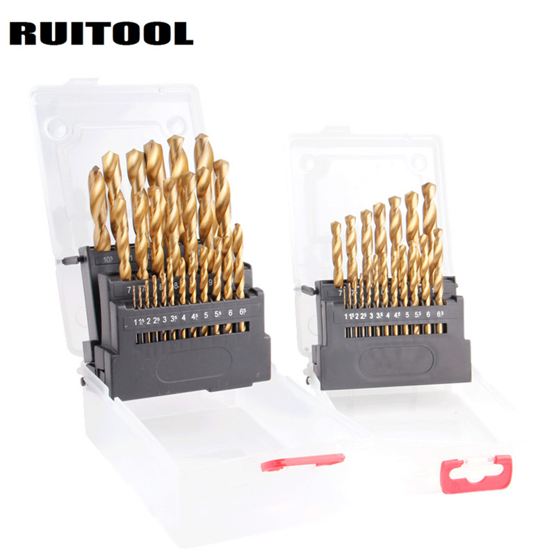 RUITOOL Drill Bit Set 1-13mm HSS Drill Set Wood Drill For Power Tool Woodworking tools new 50mm concrete cement wall hole saw set with drill bit 200mm rod wrench for power tool