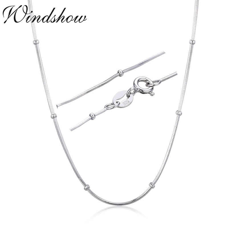 Slim 925 Sterling Silver Snake Beads Chain Choker Necklaces Women Girls 40cm 45cm Jewelry kolye collares collane collier ketting