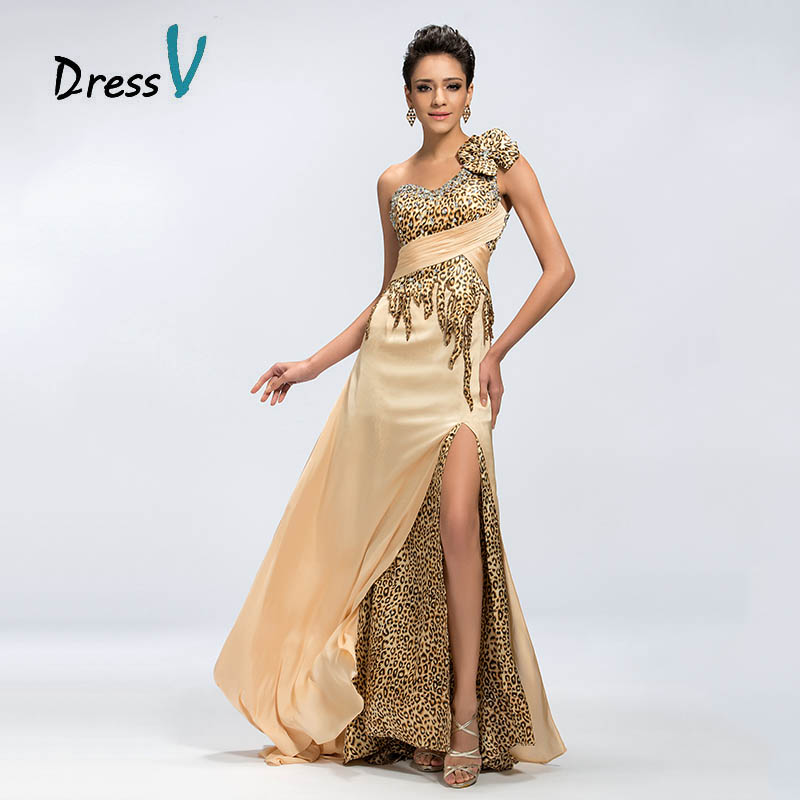 ᗚDressV Champagne Leopard Satin Long Evening Dresses One shoulder ...