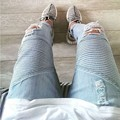Hole Mens BIKER JEANS Skinny Ripped Jeans For Men British High-street Distressed Jeans Valentine Freeshipping