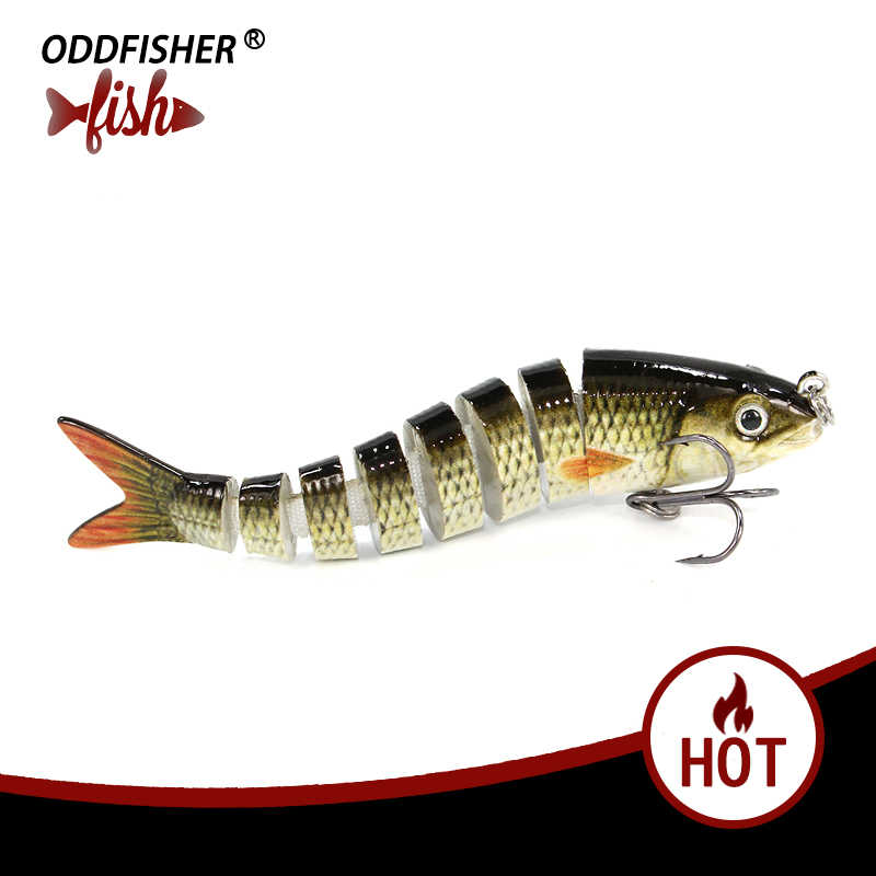 1PCS 8.5cm 8g Fishing Wobblers 8 Segments Fishing Lures Muskie Crankbait Swimbait Hard Bait with Artificial Hooks For Bass Pesca
