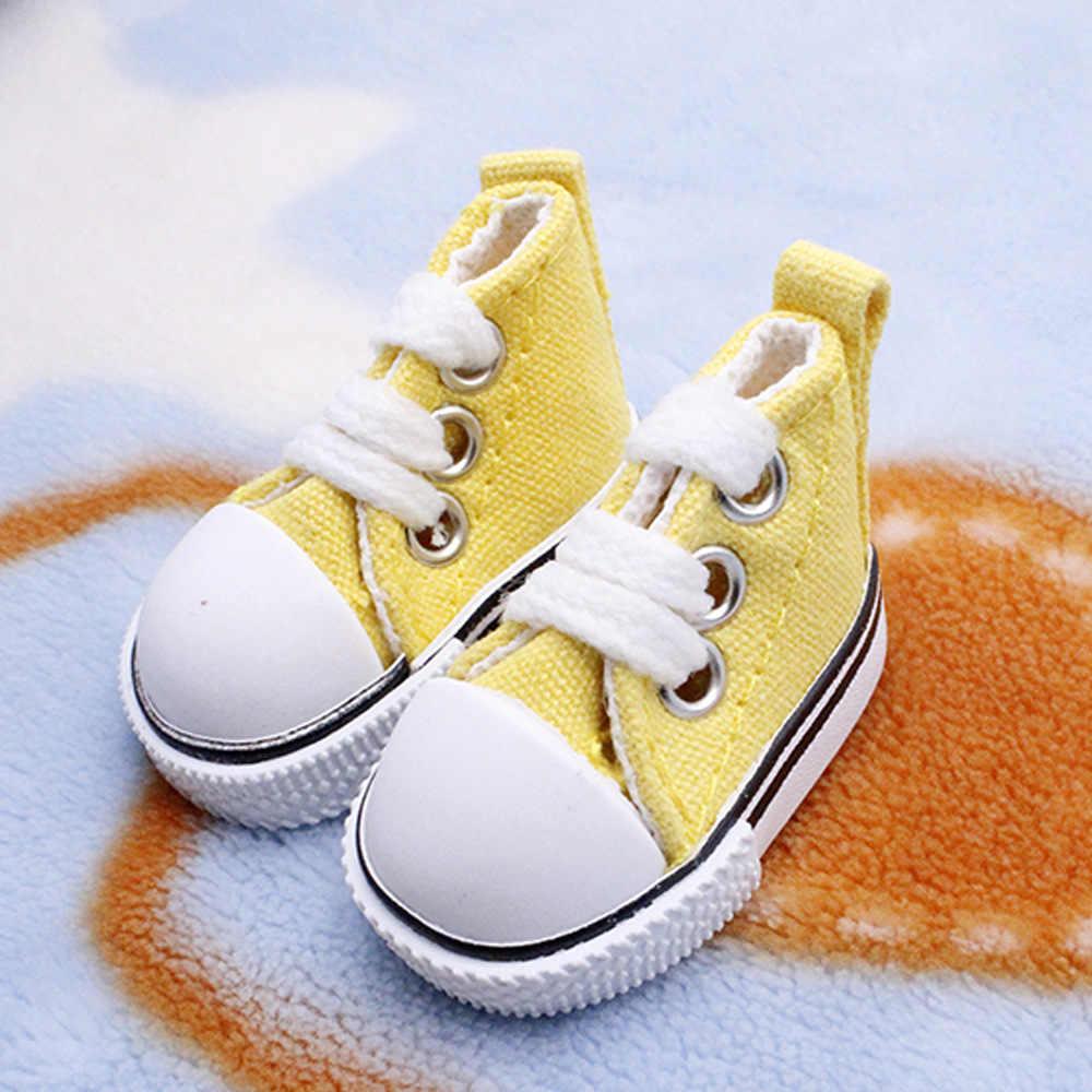 En iyi Satış 5 cm kanvas ayakkabılar Denim Tuval Mini Oyuncak Shoes1/6 Bebek Sneackers Botları Rus DIY el yapımı bebek bebek Aksesuarları