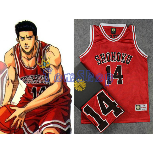 SLAM DUNK Cosplay Costume Shohoku #14 Mitsui Red Basketball Jersey Athletic Tops Shirt Vest Sportswear Uniform Free Shipping