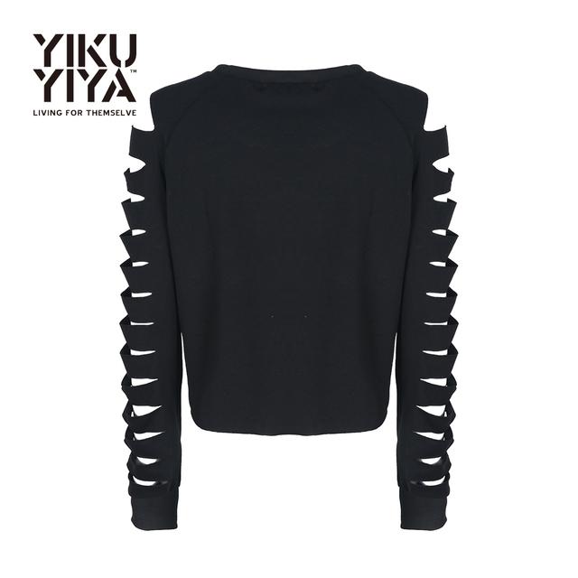 Yikuyiya cut out manga larga camisetas casual para la mujer negro sólido O Cuello Roto Agujero Famale Manga Tops Mujeres Del Estilo de Muy Buen Gusto de La Camiseta