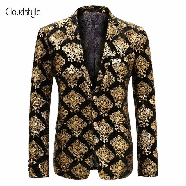 Cloudstyle 2018 Venta caliente los hombres de lujo del partido traje  chaqueta hombres moda oro chaqueta 70b5f9ef6b7