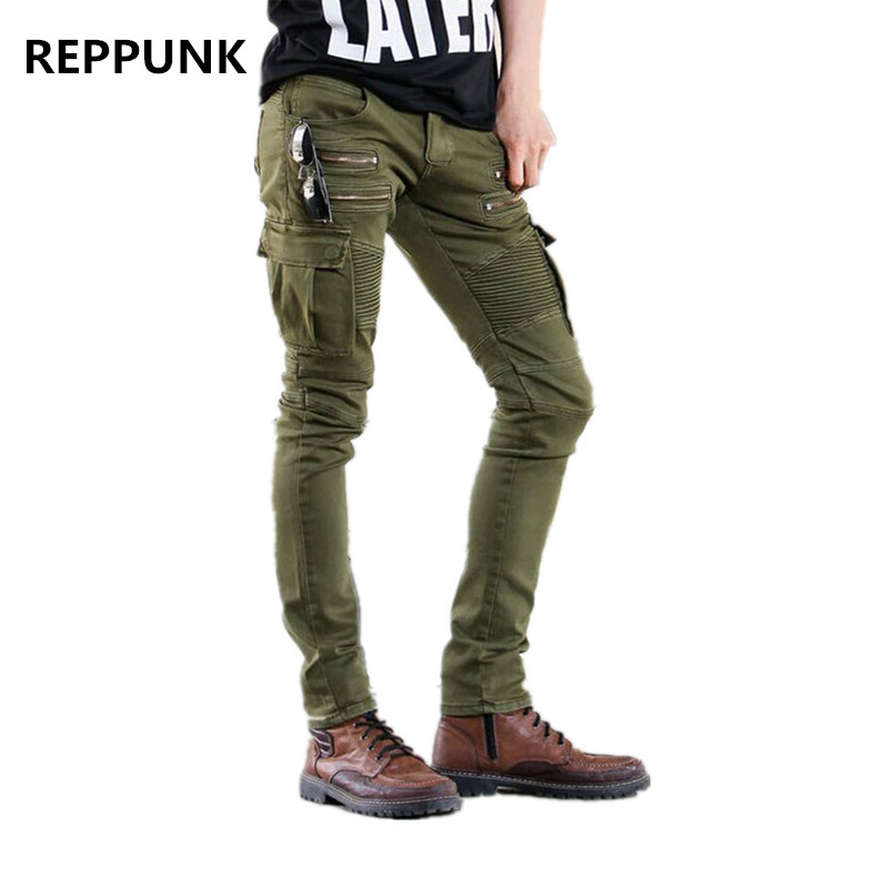 dbb94b7505 2017 nuevos hombres verde Biker Jeans elástico hombres Slim Fit Jean  Stretch Skinny pantalones Denim Runway