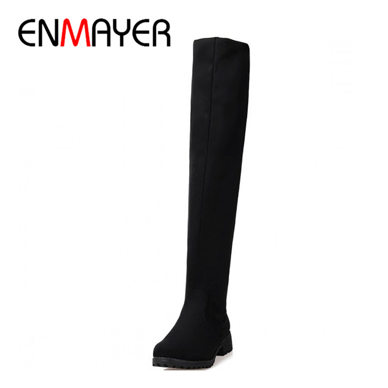 ENMAYER Motorcycle Boots Winter New Over Knee High Boots Sexy Fashion Shoes for Women Sexy Snow Long Knight Boots Winter Shoes enmayer over the knee boots shoes new pu knitting square heel high boots warm snow long boots red brown black knight boots