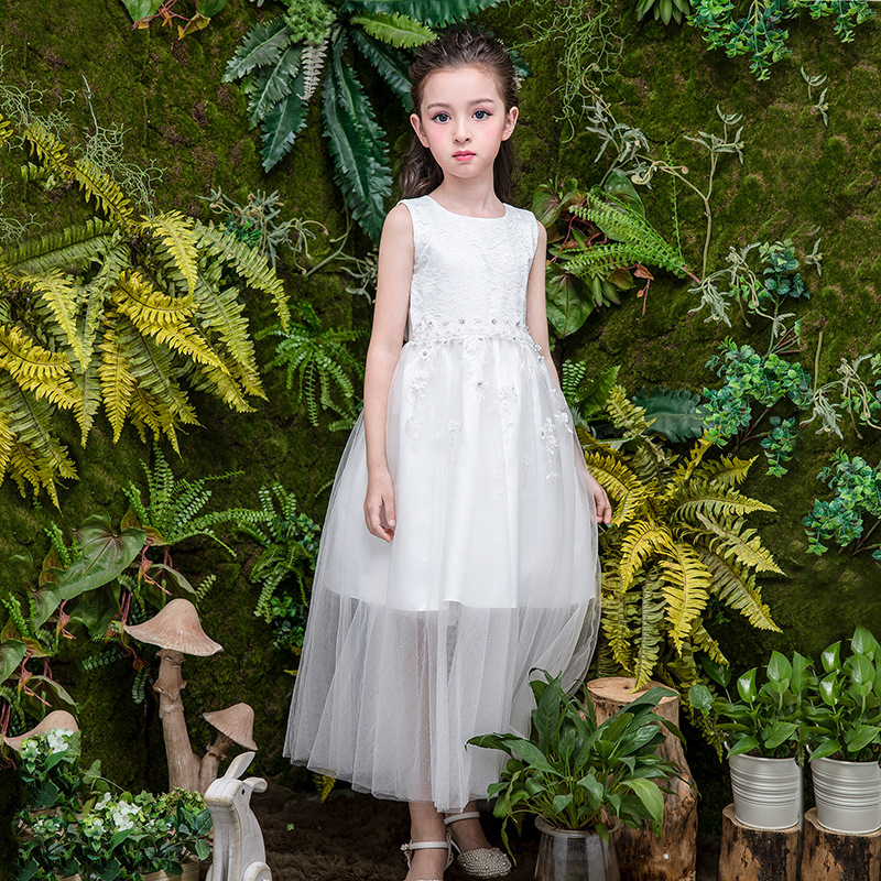 Girls Dresses for Party and Wedding Gown Little Girls Princess Dress Sleeveless Dress for Kids Girls Maxi Long Dress White 2018 teenage princess girls dresses 2018 cotton summer green purple for striped party little girls dress long kids sundress