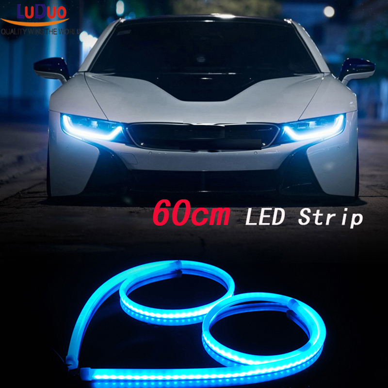 2Pcs 60cm White+Yellow Flexible led Tube Strip car-styling soft DRL Headlight Lamp Guide Car LED Daytime Daylight Running light цена