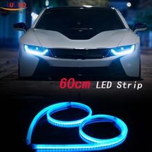 2Pcs 60cm White+Yellow Flexible led Tube Strip car-styling soft DRL Headlight Lamp Guide Car LED Daytime Daylight Running light