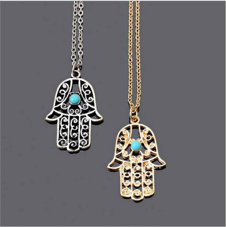 Collares Kolye Choker The Hand Of Fatima Hamsa Necklace Jewelry Pendants Metal Chain For Palm Statement Fashion For Women Colar