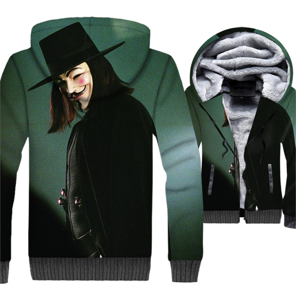 V for Vendetta Hoodie Men 3D Jackets Hoodie Men Sweatshirt 2018 New Design Winter Thick Fleece Warm Zipper Coat Brand Clothing