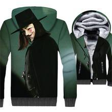 V for Vendetta Hoodie Men 3D Jackets Sweatshirt 2018 New Design Winter Thick Fleece Warm Zipper Coat Brand Clothing