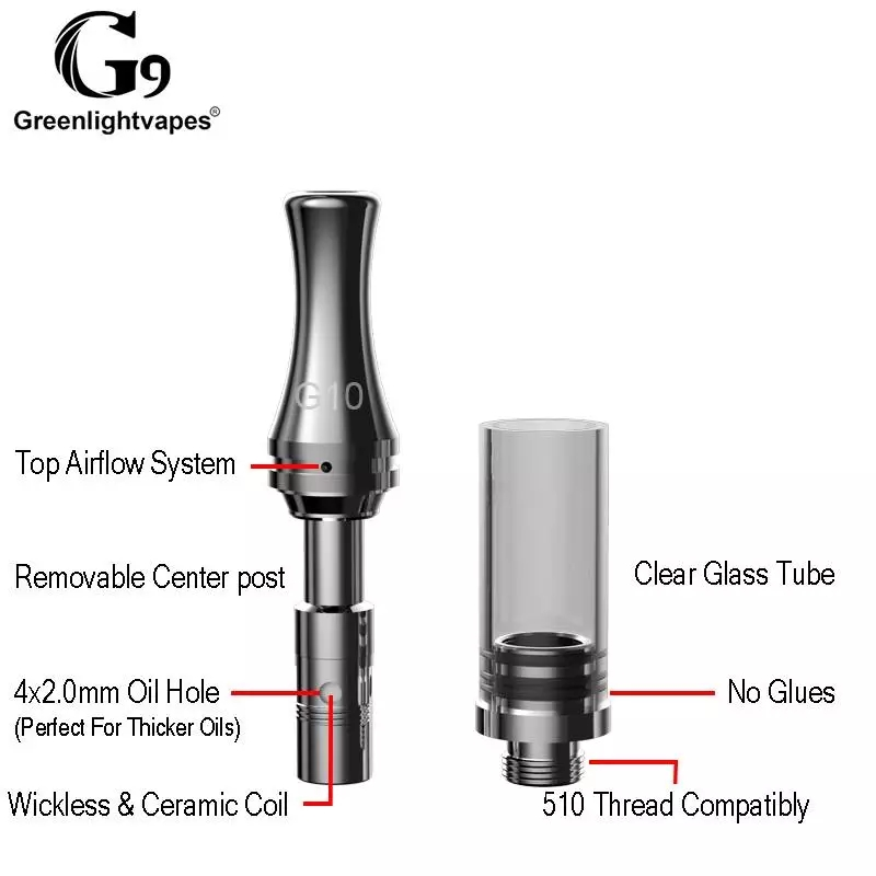 5pcs Pack Greenlightvapes G9 G10 Cbd Atomizer Top Airflow 0 5ml Vape Cartridge Ceramic Coil Tank Vapor 510 Ecig For Prehead Pen Cartly Shop