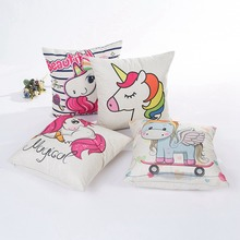 цены Unicorn Sofa Decorative Cushion Covers Cartoon Owl Seat Cushion Chair Home Decor Linen Pillow Case Pillowcase 45*45 Pillow Cover