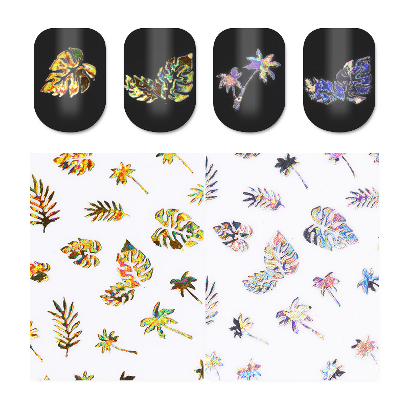 Holographic Gold Silver 3D Nail Sticker Leaf Coconut Tree Nail Art Adhesive Transfer Sticker Manicure Nail Sticker 1 Sheet 1 sheet summer fruit love lace alphabet 3d nail sticker dessert animal flower nail art adhesive transfer sticker manicure decal