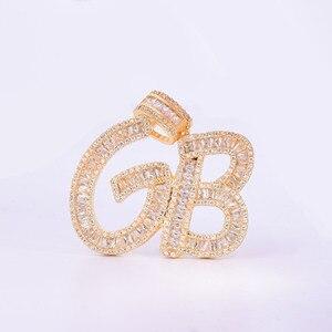 Image 5 - Nazwa własna liczba bagietka litery wisiorek charms w kolorze złota AAAA cyrkonia męski Hip Hop naszyjnik łańcuch Rock biżuteria