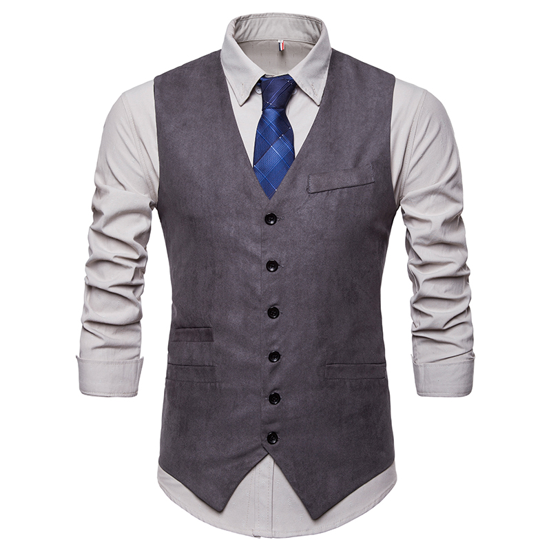 Suit Vest Brown Jacket Waistcoat Slim-Fit Wedding Casual Sleeveless Gentleman Korea Fashion