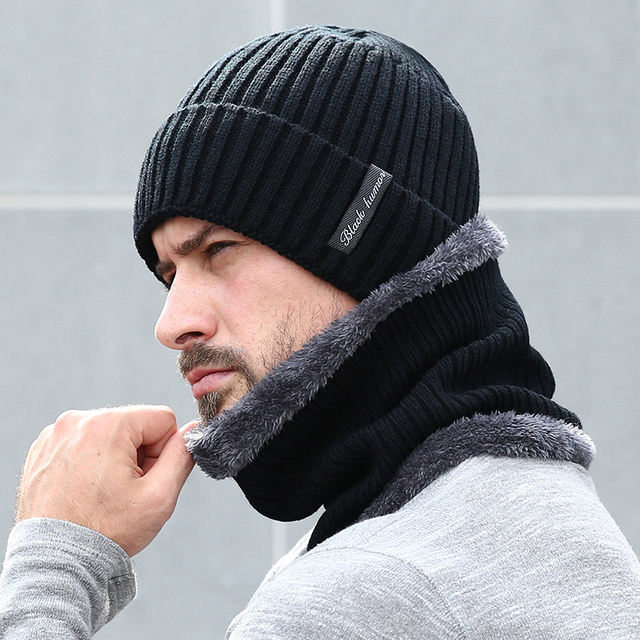 150626f043a9a Fleece Lined Warm Beanie Hat Men Women Knitted Cap Winter Hat Scarf Set  High Quality Winter