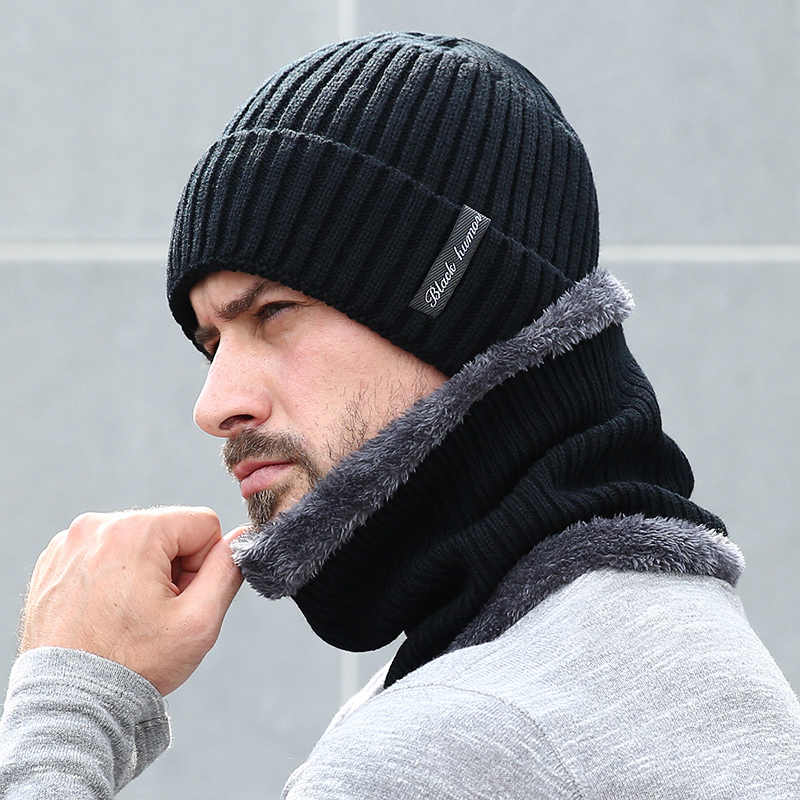 63a508edec6 Fleece Lined Warm Beanie Hat Men Women Knitted Cap Winter Hat Scarf Set  High Quality Winter