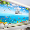 Custom Photo Wallpaper Sailing Dolphin 3D Underwater World Cartoon Picture Living Room Children Bedroom Decoration Wall Mural 2