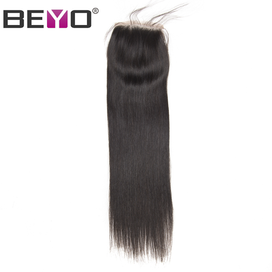 Beyo Lace Closure Brazilian Straight Hair Human Hair Closure With Baby Hair Free Middle Three Part Non Remy Hair 4x4 Swiss Lace