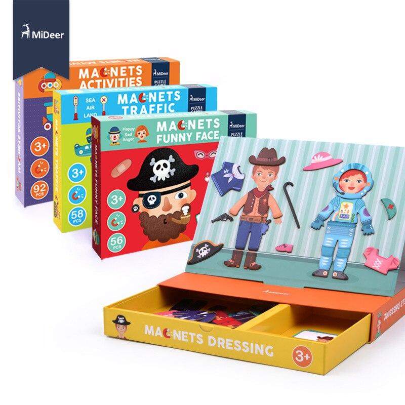 MiDeer En Bois Enfants Jouets Éducatifs Aimant Dressing Magnétique Puzzles Jeu Ensemble Amusant Réutilisable Autocollants pour Enfants Cadeau De Noël
