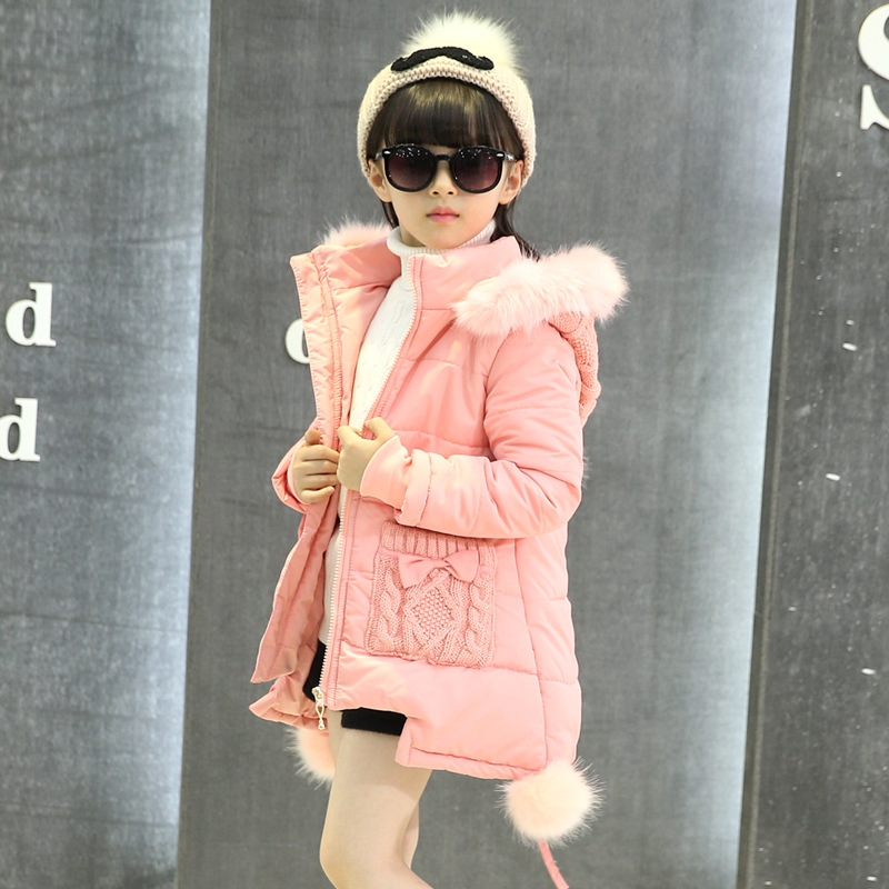 Sweet Baby Girls Winter Coats Kids Jacket 2017 Fashion Children Outerwear Thicken Warm Hooded Cotton-padded Clothes  6-14 Y 2017 winter children cotton padded parkas clothes baby girls