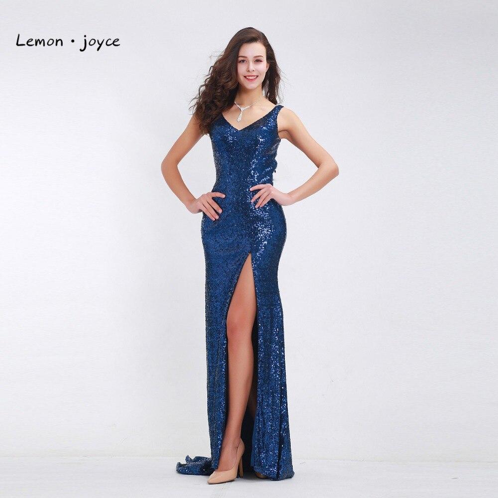Lemon joyce Evening Dresses V Neck Sequined High Split Sexy Backless Long Mermaid Prom Gown 2019