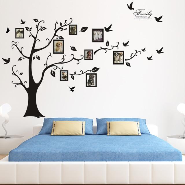 keluarga 3d diy pohon besar stiker dinding kamar tidur sofa latar