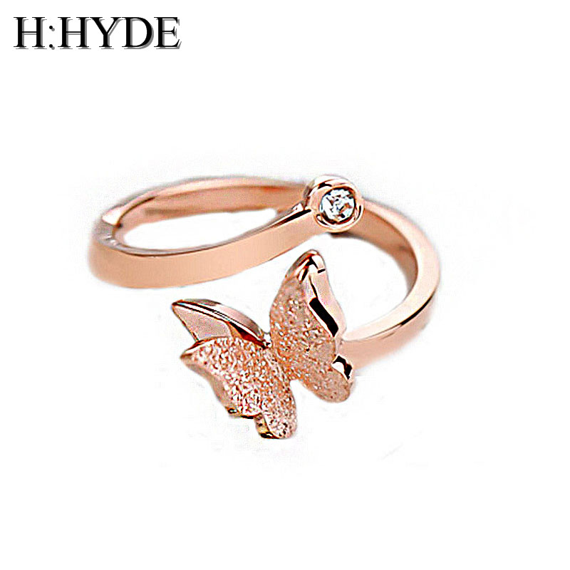 H:HYDE New Fashion Hot Sale Elegant Titanium Steel Rose Gold Color Crystal Butterfly Rings For Women use for Party Engagement