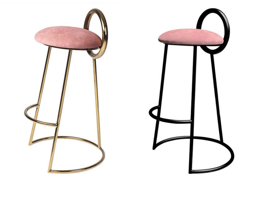 Iron art bar chair Nordic front desk high leg bar stool milk tea shop cafe chair Korean bar chair