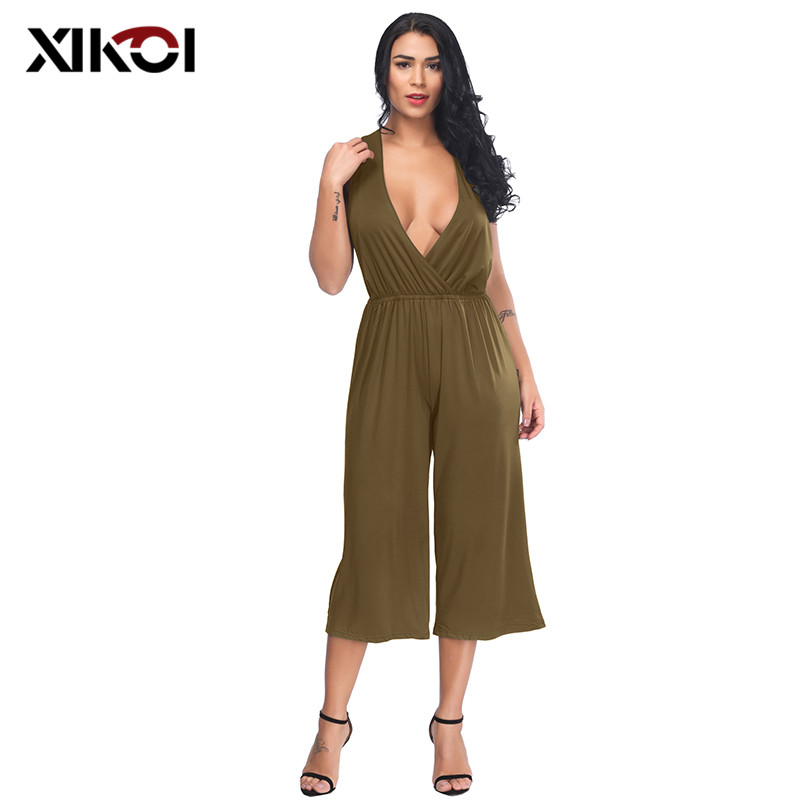 XIKOI 2018 New Casual Jumpsuit Sexy Sleeveless Backless Elegant Jumpsuits Ladies Deep V Sexy Playsuits Rompers Female Overalls