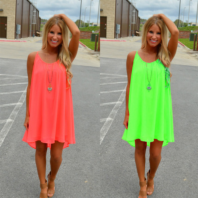 Women beach dress fluorescence female summer dress chiffon voile women dress summer style women clothing plus size lyq01